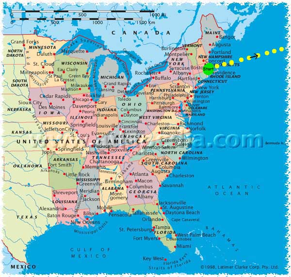 I Think Not - Map of the east coast united states