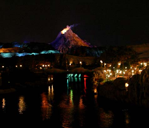 The volcano looms over the whole park