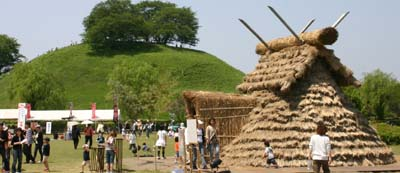 Straw house at festival